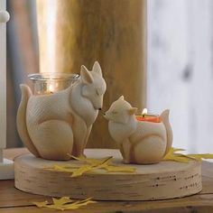 What does this fox say? Happy Thanksgiving. Add an adorable touch to your holiday. Let Nature's Love™ by PartyLite Mama & Baby Fox Candle Holders spark memories of family gatherings past, present and future. Find this fox duo and more mama and baby pairs at PartyLite.com.