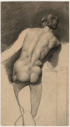 Alfred Stevens: Male Nude Seen from Rear, 1842 - Black chalk [and charcoal?]