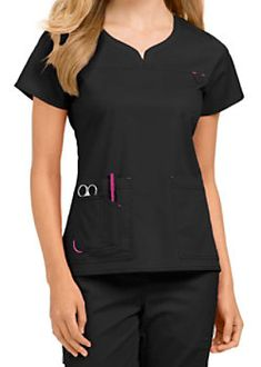 Med Couture Lexi Notch Neck Scrub Tops - Black/Raspberry - Treat yourself to the… Scrubs Outfit, Scrubs Uniform, Beauty Uniforms, Doctor Coat, Medical Scrubs, Nursing Scrubs, Work Uniforms, Nursing Clothes, Scrub Tops