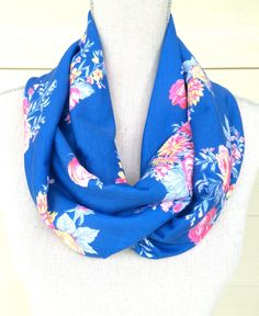 Skinny Spring Blue Floral Fabric Infinity Scarf Cowl Circle Loop Scarf Mothers Day Gift  by IndustrialWhimsy on Etsy https://www.etsy.com/listing/228938704/skinny-spring-blue-floral-fabric