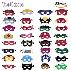 TEEHOME Superhero Masks Party Favors for Kid Packs) Felt and Elastic - Superheroes Birthday Party Masks with 33 Different Types for Children - Best Seller List Superhero Party Favors, Kid Party Favors, Black Panther Party, Smurfette, Mask Party, Halloween Party Decor, Childrens Party, Mask For Kids, Party Supplies