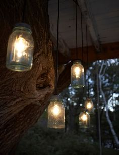 Edison bulbs in blue glass Bell jars. Via #TheLetteredCottage fabulous post about Camp Wandawega's camp treehouse #Lighting