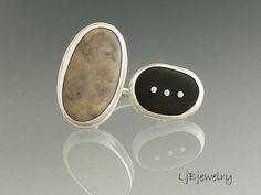 Double sided beach stone Ring by LjBjewerly