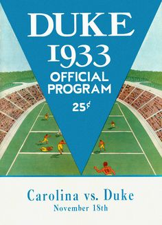 1933 Duke Blue Devils vs UNC Tar Heels 22 x 30 Canvas Historic Football Poster