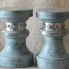 Pair of distressed paint finished candle sticks with metal decorative detail by PeacheyDesigns on Etsy Candle Sticks, Bespoke Design, Handmade Items, Handmade Gifts, Paint Finishes, Peaches, It Is Finished, Candles, Detail