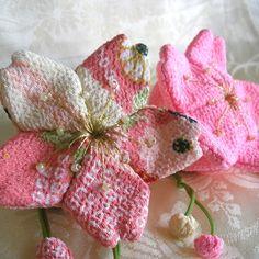 Chirimen Cherry Blossom satchels
