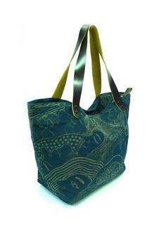 Fabric Bag Tote ( Handmade printed woodblock ) in Reverie of Happiness, Kasploy 0101. $40.00, via Etsy.