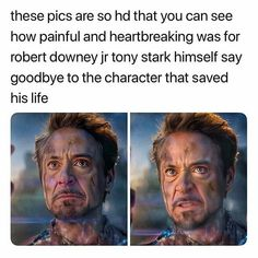 These pics are so hd that you can see how painful and heartbreaking was for robert downey jr tony stark himself say goodbye to the Character that saved his life - iFunny :) Funny Marvel Memes, Marvel Jokes, Dc Memes, Marvel Dc Comics, Marvel Avengers, Marvel Gems, Avengers Movies, Disney Marvel, Marvel Art