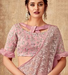 Pink Tissue Fancy Layered Lehenga Saree with Designer Blouse - Blouse designs Blouse Designs High Neck, Stylish Blouse Design, Fancy Blouse Designs, Sari Blouse Designs, Kurti Back Neck Designs, Blouse Designs Catalogue, Air Jordan 3, Roger Federer, High Neck Saree Blouse