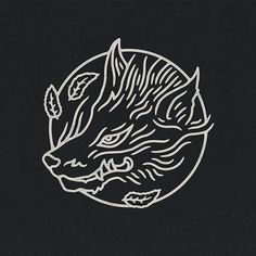 Japanese inspired fox/wolf as part of a really fun packaging project.  #graphicdesign #design #illustration #art #artwork #drawing #handdrawn #japan #wolf #fox #kitsune #nature