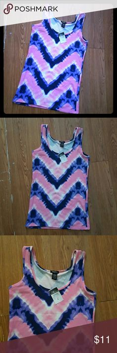 "Pink, Blue And Purple Tank Top Cute tank top for everyday use with pink, blue and purple zigzags. From top to bottom is 26"" Rue 21 Tops Tank Tops"