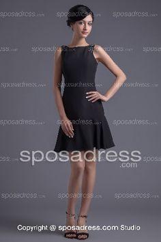 2013 Simple Black Beaded Straps A-line Cocktail Dress