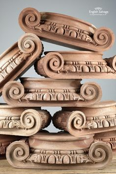Pretty carved mahogany half pillar tops with scrollwork and egg and dart detail to the fronts. Wooden Corbels, Master Bath Remodel, Architectural Antiques, Assemblage, Hand Carved, Cape, Woodworking, Carving, Rustic
