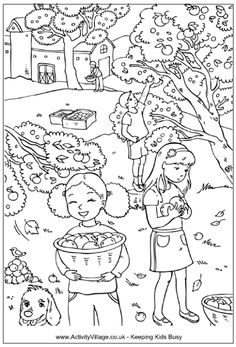 Picking apples colouring page, children picking apples in an apple orchard with farm in the background Apple Coloring Pages, Coloring Pages Winter, Farm Coloring Pages, Tree Coloring Page, Thanksgiving Coloring Pages, Animal Coloring Pages, Coloring Pages To Print, Coloring Sheets, Coloring Books