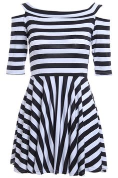 ROMWE | Stripe Off-shoulder Black-white Dress, The Latest Street Fashion