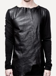 Lost & Found by Ria Dunn; Jersey Sleeve Leather Tunic Washed Silicon Leather, 100% Calf Skin Spring and Summer 2013 BLACK