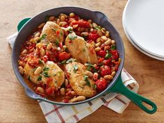 Get One-Pot Pan Seared Chicken Breasts with Cherry Tomatoes and White Beans Recipe from Cooking Channel