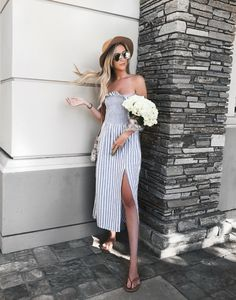 0f2995ea04dc Summer Stripes Dress - Weekend Outfit / Summer Date Outfit - Carly Cristman  Summer Weekend Outfit