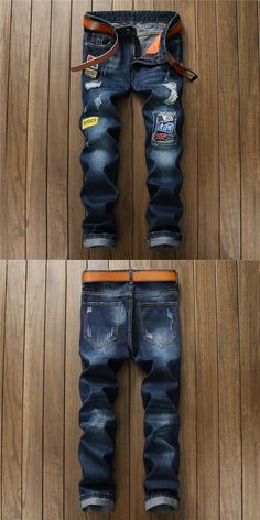 Newsosoo Newest Men's casual hole badge patch ripped jeans Fashion dark blue denim pants Long trousers jeans hommes