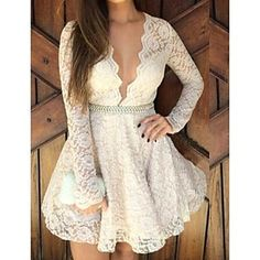 Cheap Deep V Hollow Long Sleeve Lace Dress For Big Sale!Deep V Hollow Long Sleeve Lace Dress, made of lace fabric, deep V neck design very sexy and sweet. White Homecoming Dresses Short, Formal Dresses For Teens, Short Dresses, Prom Dresses, Short Prom, Club Dresses, Dresses 2016, Dress Formal, Dress Casual