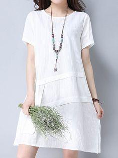 Mulheres de manga curta de patchwork vestidos de cor pura