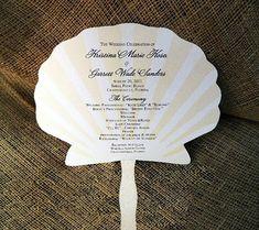 Set Of 25 Paddle Style Seashell Design Wedding Program Fan Custom Colors Available