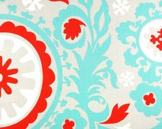 Suzani Fabric / Turquoise Red Suzani Upholstery or Drapery Cotton Fabric
