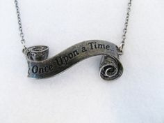Once Upon a Time Necklace - Scroll - Gunmetal - Geekery - Fairy Tale - Fantasy - 2014 Trends - Valentine's Day - For Her - Birthday - Gift
