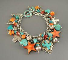 Vintage NAVAJO TURQUOISE Cactus JOAN SLIFKA Cross HEART CHARM Bracelet Necklace