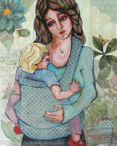 03f7f816050 Babywearing- giclee print of original mixed media painting 8