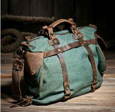 Men's Women's Vintage Canvas Crazy Horse Leather Messenger Bag Shoulder Handbag #QISEMIAN #ShoulderBagsMessengerBag