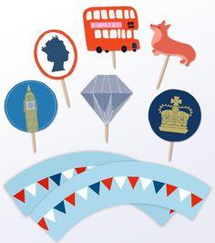Jubilee cupcake kit http://www.printablepaperproducts.com/printable-crafts/diamond-jubilee-cupcake-decorations#