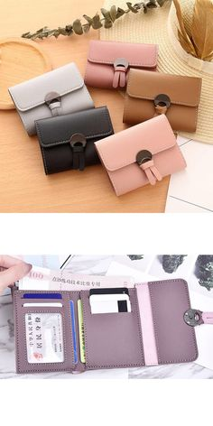 New Arrival Women Simple Short Wallet Hasp Coin Purse Pockets ID Card Holders Handbag Mini Ladies Wallets Diy Wallet, Best Wallet, Tote Purse, Purse Wallet, Fashion Handbags, Purses And Handbags, Ladies Purse, Designer Wallets, Wallets For Women Leather
