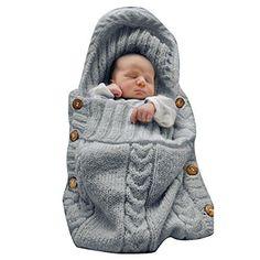 SEENFUN Newborn Baby Crochet Sleeping Bag Sleep Bag Wrap Swaddle Blanket(Dark gray) - $7.99