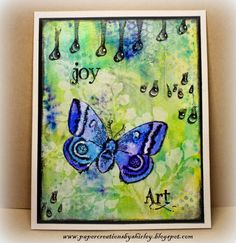 Paper Creations by Shirley: Playing with Brushos and Dylusions Inks with Designs by Ryn stamps - Luna, Hanging Droplets Set and Trickling Water 2