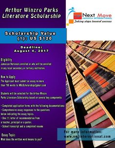 Arthur Winzro Parks #Literature #Scholarship for #Students in #Jamaica. One award at US$120 with a August 4th