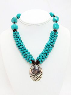Turquoise Kumihimo Necklace with Pendant T1 by daksdesigns