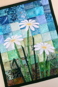 Batik Daisy Quilted Wall Hanging / Art Quilt, Pattern or Kit, by PingWynny - quilt patterns Batik Quilts, Patchwork Quilting, Applique Quilts, Art Quilting, Quilt Art, Quilting Patterns, Quilting Ideas, Hanging Fabric, Hanging Art