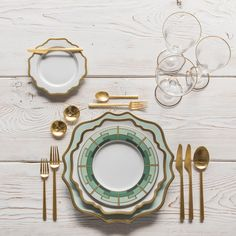 RENT: Anna Weatherley Chargers in Aqua Sky/Gold + Anna Weatherley Dinnerware in White/Gold + Rondo Flatware in Brushed 24k Gold + Chloe 24k Gold Rimmed Stemware + 14k Gold Salt Cellars + Tiny Gold Spoons SHOP: Anna Weatherley Chargers in Aqua Sky/Gold + Anna Weatherley Dinnerware in White/Gold + Emerald Deco Dinnerware + Rondo Flatware in Brushed 24k Gold + Chloe 24k Gold Rimmed Stemware + 14k Gold Salt Cellars + Tiny Gold Spoons