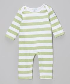 Look at this #zulilyfind! Country Green Rugby Stripe Playsuit - Infant by Mooncakes #zulilyfinds