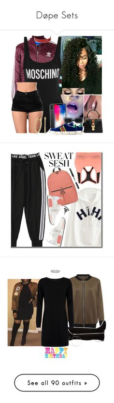 """""""Døpe Sets"""" by leonnaw ❤ liked on Polyvore featuring adidas, Moschino, Gucci, CÉLINE, Knomo, adidas Originals, Bobbi Brown Cosmetics, WearAll, Stuart Weitzman and Cocoa Cashmere"""