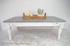 White And Gray Distressed Coffee Table. by TheWoodKnotFurniture