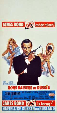 James Bond - From Russia With Love (Bons baisers de Russie) - Sean Connery - Belgian Fridge Magnet James Bond Movie Posters, James Bond Movies, Films Cinema, Cinema Posters, Sean Connery, Roger Moore, Casino Royale, Vintage Movies, Vintage Posters