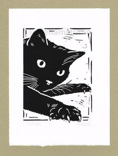 Gary & Heather Black Cat Mousing - Hand Pulled Linocut Print 24 x 2014 Linocut Prints, Art Prints, Block Prints, Illustrator, Black Cat Art, Black Cat Painting, Black Cats, Cat Art Print, Linoprint