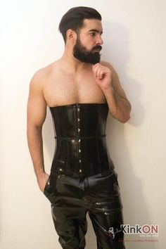New rubber cincher and jeans available today at. Butch Fashion, Mens Fashion, Wedding Corset, Latex Corset, Corset Costumes, Drag King, Waist Cincher Corset, Lace Tights, Leather Men