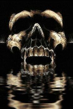 skull over water