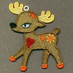 FSL Reindeer 6 - 4x4 | FSL - Freestanding Lace | Machine Embroidery Designs | SWAKembroidery.com Ace Points Embroidery