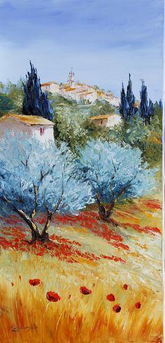 Galerie d'Art Zubrycki, peintre & sculpteur artiste contemporain, huile ou acrylique, feuille d'or paysage de Provence, Ventoux, univers floral, portrait, peinture au couteau