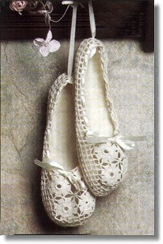 Bridal slippers! pattern published in Big Book of Slippers, but publication is out of print