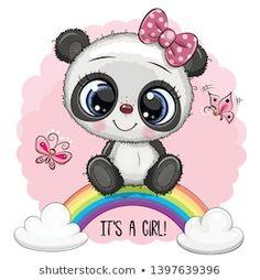 Cartoon Panda is on the rainbow. Greeting Card Cute Cartoon Panda girl on the rainbow royalty free illustration Panda Wallpapers, Cute Wallpapers, Cute Images, Cute Pictures, Animal Drawings, Cute Drawings, Environmental Crafts, Image Panda, Cute Panda Cartoon